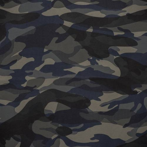 Simili cuir imprimé camouflage bleu