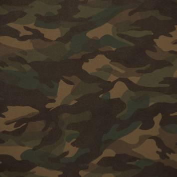 Simili cuir imprimé camouflage vert