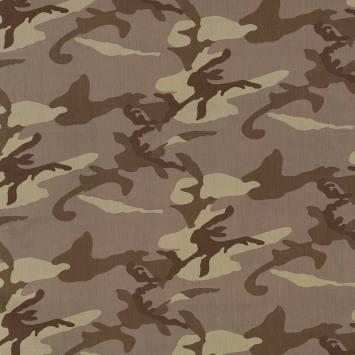 Coton imprimé camouflage marron