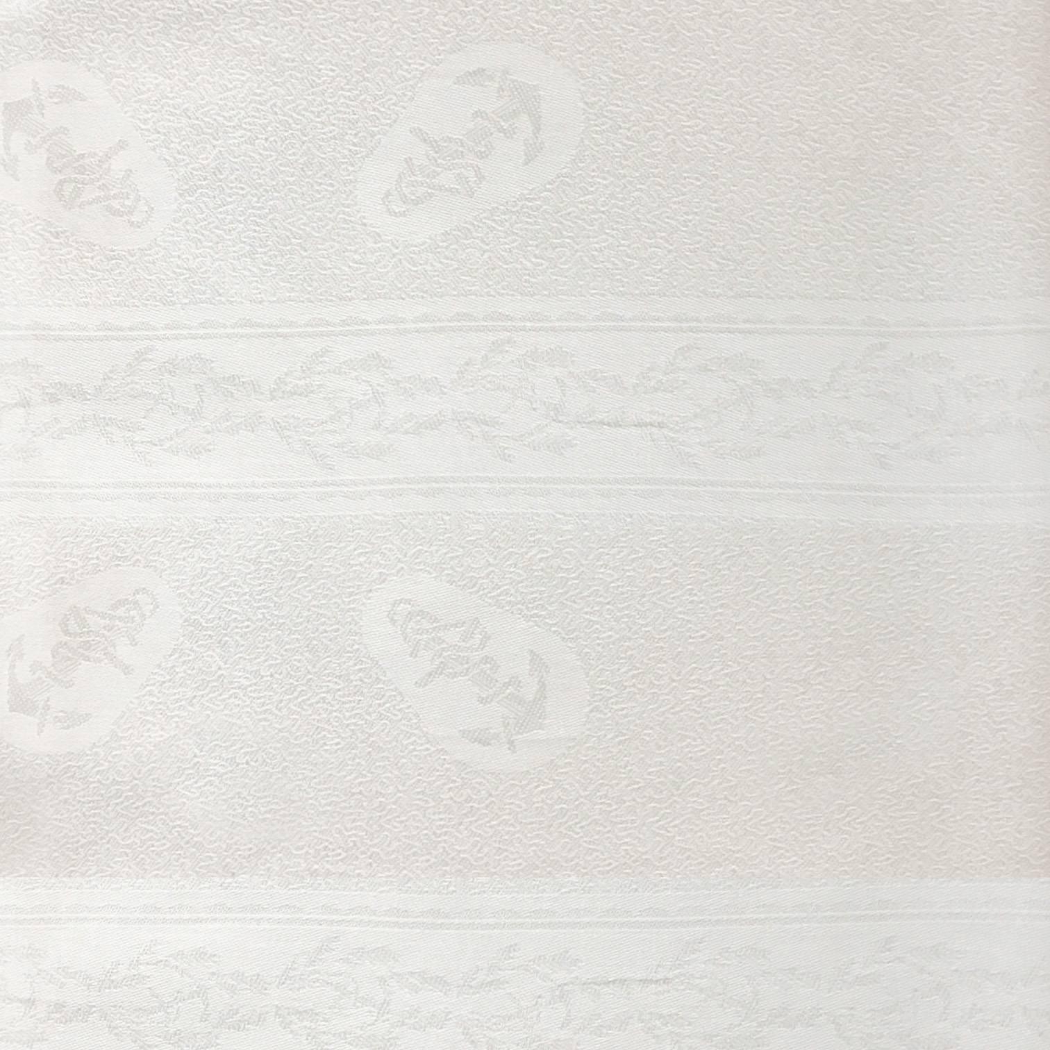Tissu jacquard damassé blanc motif ancre marine 182 cm