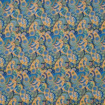Coton bleu et orange motif cachemire