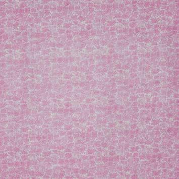 Coton rose clair imprimé feuillage