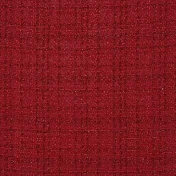 Tissu coco effet tweed rouge
