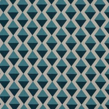 Toile polycoton imprimé losange bleu
