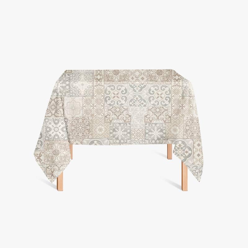 coton enduit imprim carreaux de ciment taupe pas cher tissus price. Black Bedroom Furniture Sets. Home Design Ideas