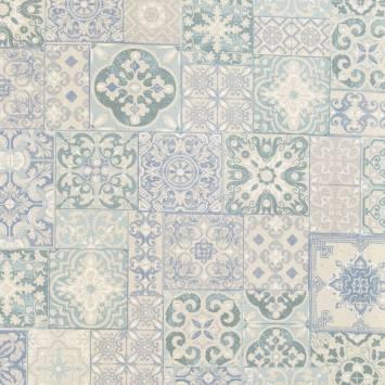 Coton enduit imprimé carreaux de ciment bleu