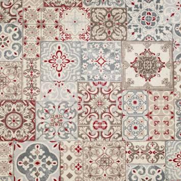 Coton enduit imprimé carreaux de ciment rouge