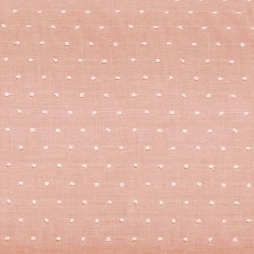 Voile de coton plumetis rose pastel pois blanc