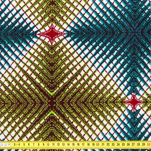 Wax - Tissu africain blanc imprimé feuilles de palmier 93