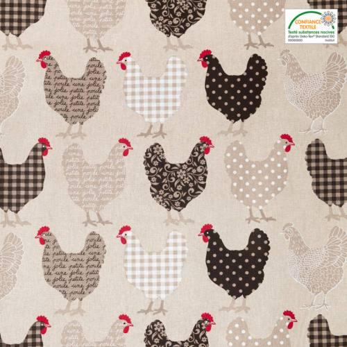 Coton grège imprimé poules