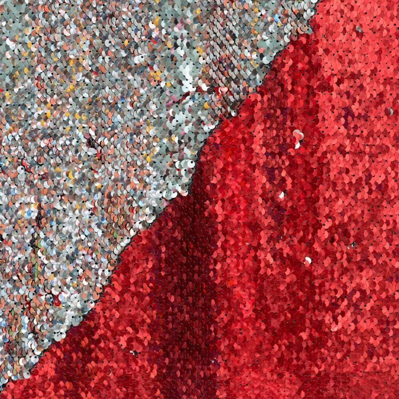 Coupon tissu sequins r versibles rouge argent pas cher - Tissus rouge pas cher ...