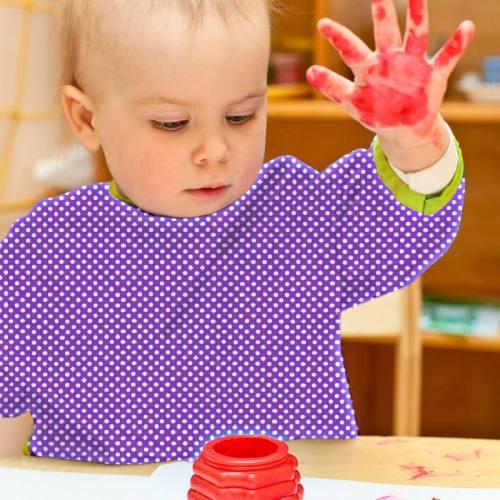 Toile polyester violet petit pois blanc