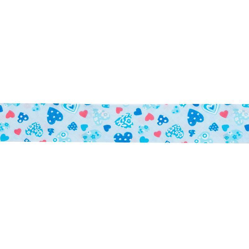 Biais fantaisie 30mm bleu motif cœur