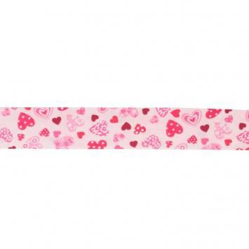 Biais fantaisie 30mm rose motif cœur