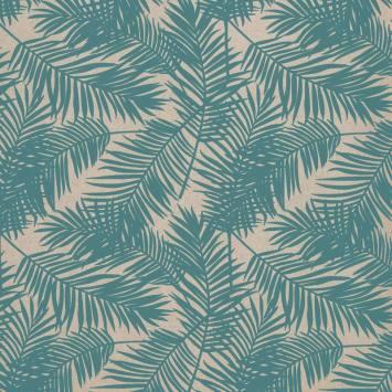 Toile polycoton imprimé jungle bleu clair