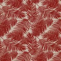 Toile polycoton imprimé jungle rouge