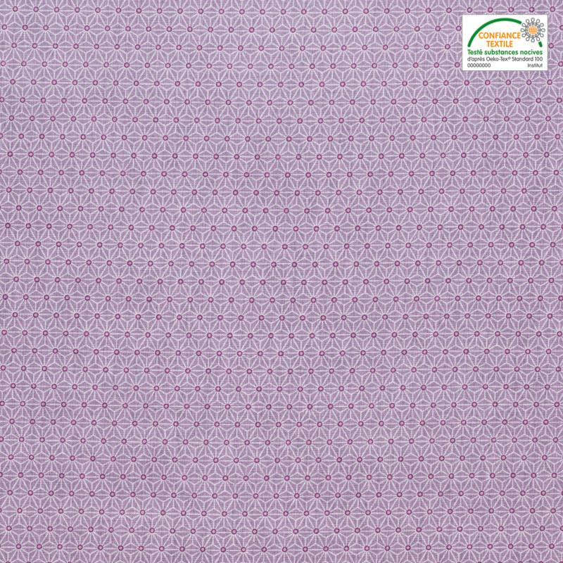 Coton parme petit motif asanoha blanc