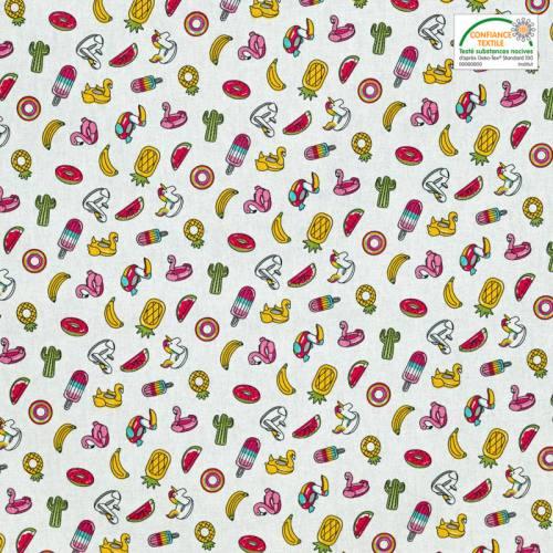 Coton blanc imprimé bouée et fruit