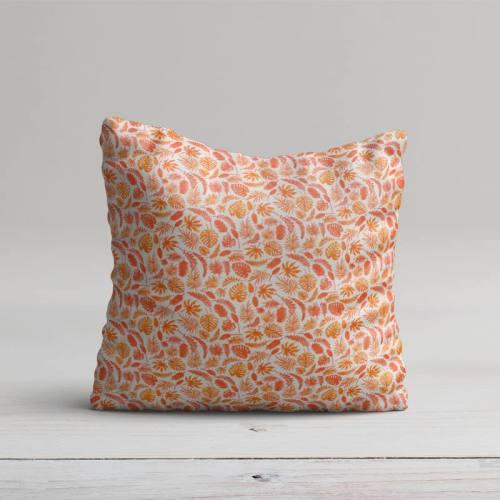 Coton blanc motif jungle orange