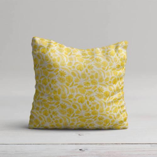 Coton blanc motif jungle jaune