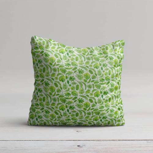 Coton blanc motif jungle vert