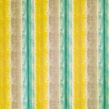 Coton impression numérique effet peinture vert tilleul, bleu et gris