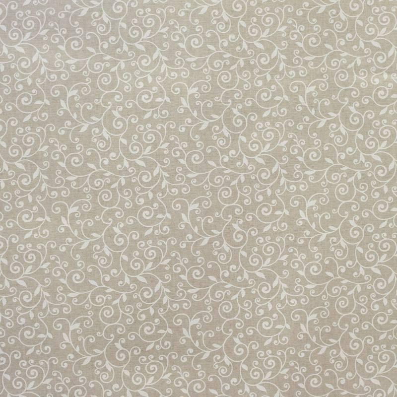 Coton enduit beige arabesque fleur blanche
