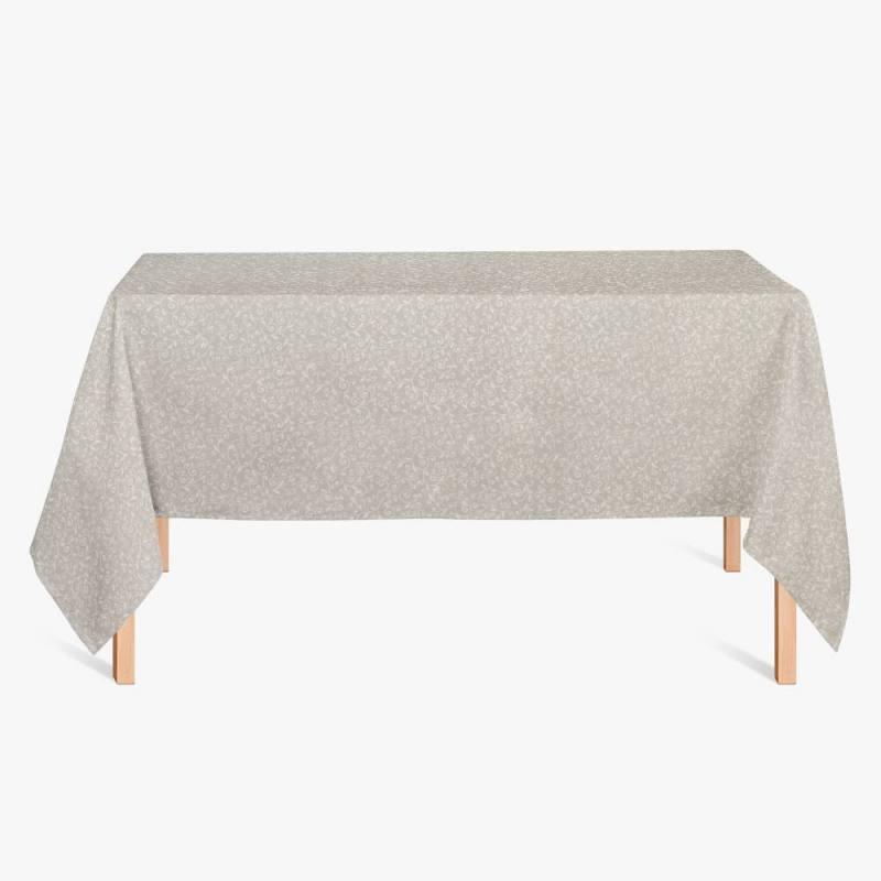 coton enduit beige arabesque fleur blanche pas cher. Black Bedroom Furniture Sets. Home Design Ideas
