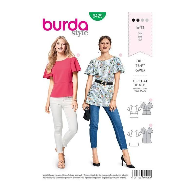 Patron Burda 6429 : T-shirt Taille 34-44