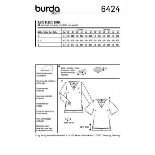 Patron Burda 6424 : Blouse Taille 36-46