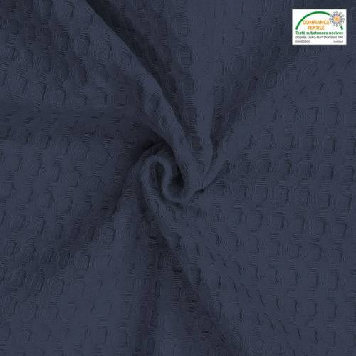 Jacquard bleu jean tissage gaufré