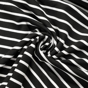 Punto milano noir grandes rayures blanches