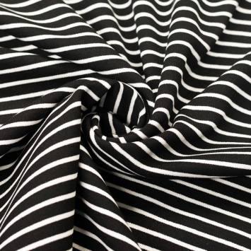 Punto milano noir petites rayures blanches