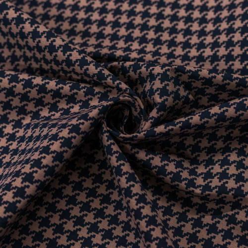 Tissu gabardine motif pied de poule marron et noir